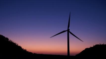 windmill in twilight