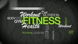 Fitness health workout gym word tag cloud animation