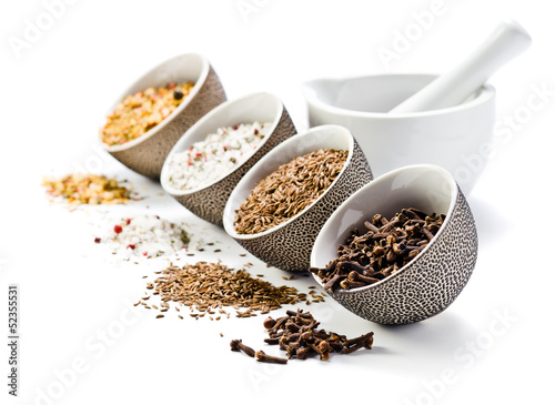 spices in a small ceramic cups