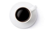 White ceramic coffee mug on the saucer. Top view.