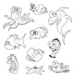 Cartoon sea creatures