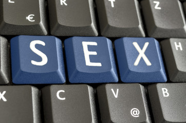 Sex spelled on computer keyboard