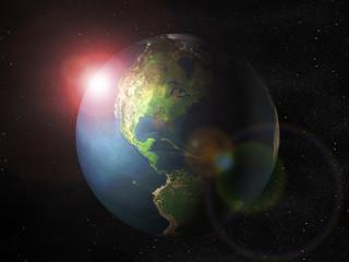 Weltkugel mit Sonnenaufgang