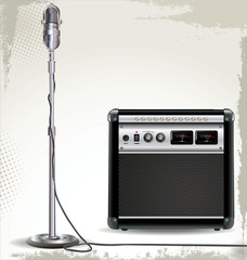 Electric guitar amplifier and retro microphone background