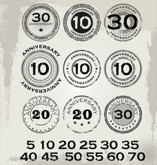 Grunge anniversary rubber stamp set