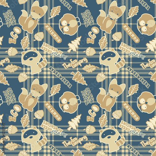 Cute forest animals - vector seamless pattern