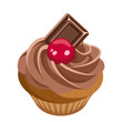 Cupcake with chocolate cream and cherry. Vector illustration.