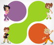 Colorful template for brochure with cartoon children. Teenagers.