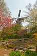 Dutch windmill with spring garden. Keukenhof. Lisse.
