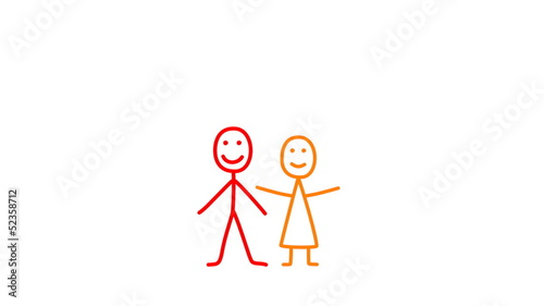Animation of drawing family - father, mother and children