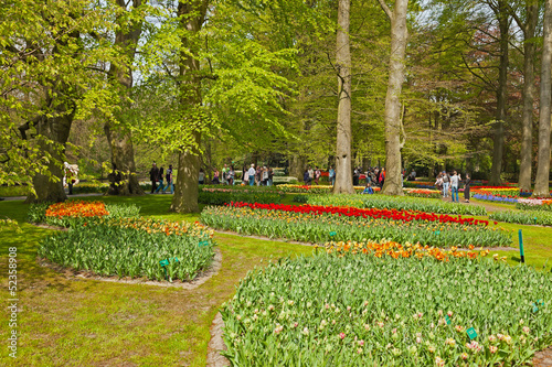 Flower garden in spring with tourists. Keukenhof. Lisse.