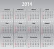 Light gray calendar for 2014