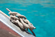 Amarre sur le pont d'un voilier, fond mer