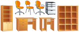 Office furniture vector set - chair, desk, bookshelf