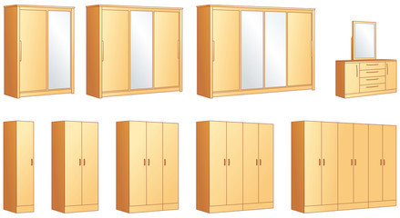 Bedroom furniture - wardrobes, commode vector