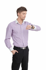Handsome Man Looking at Watch. Isolated