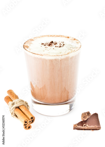 Iced blended frappe coffee isolated on white background