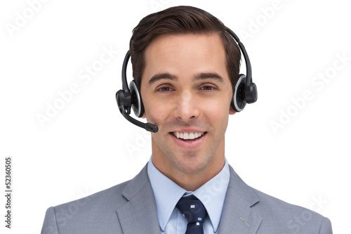 Happy assistant with headset