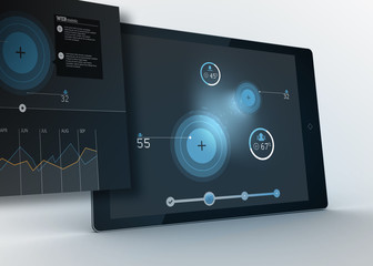 Digital tablet showing data and circles with projection
