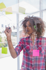 Woman with check shirt drawing on flowchart with marker