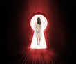 Businesswoman standing in the keyhole doorway