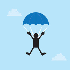 Figure falling from the sky with a parachute