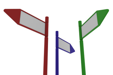 Red, green and blue signposts isolated on white background