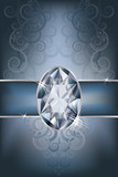 Greeting card with diamond, vector illustration