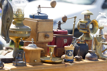 old coffee machines displayed at garage sale