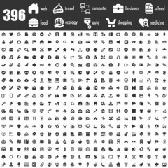 396 black icons set