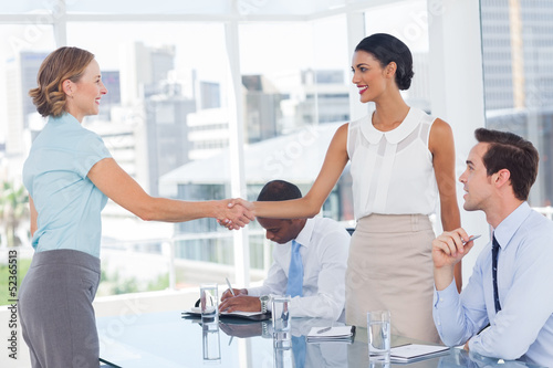 Standing recruitment consultant shaking hand of an applicant