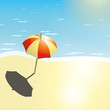 Beach and umbrella in a summer design
