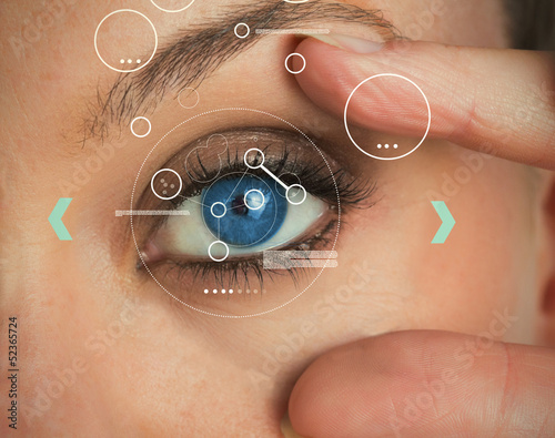 Woman stretching her eye for an identification