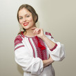 Portrait of beautiful young woman in the Ukrainian national clot