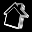 Silver House Icon 3D Black