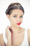 Attractive teen with red lips posing