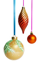 Christmas balls on ribbon