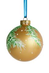 Christmas ball hanging on ribbon