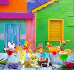 Colorful varied tropical Cocktails in tropical Caribbean house