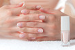 Womans hands with beautiful french manicure