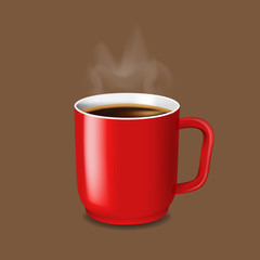A red cup of coffee - vector illustration