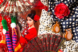 Flamenco woman with bullfighter and typical Spain Espana