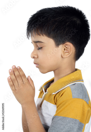 Portrait of Indian Boy Praying