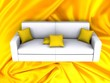 Sofa on silk fabric as background