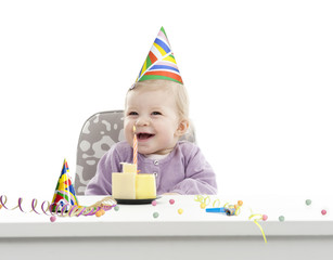 baby having her first birthday, isolated on white