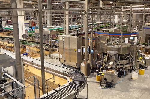 Conveyor. Food industry, interior of brewery