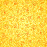 Orange vector doodle flowers seamless pattern