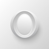 White plastic vector letter round button