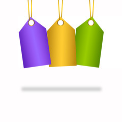 3 Colourful hanging tags