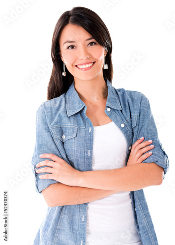Woman in denim jacket